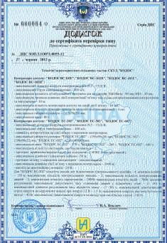 Сертификат соответствия 2014. Дополнение 2